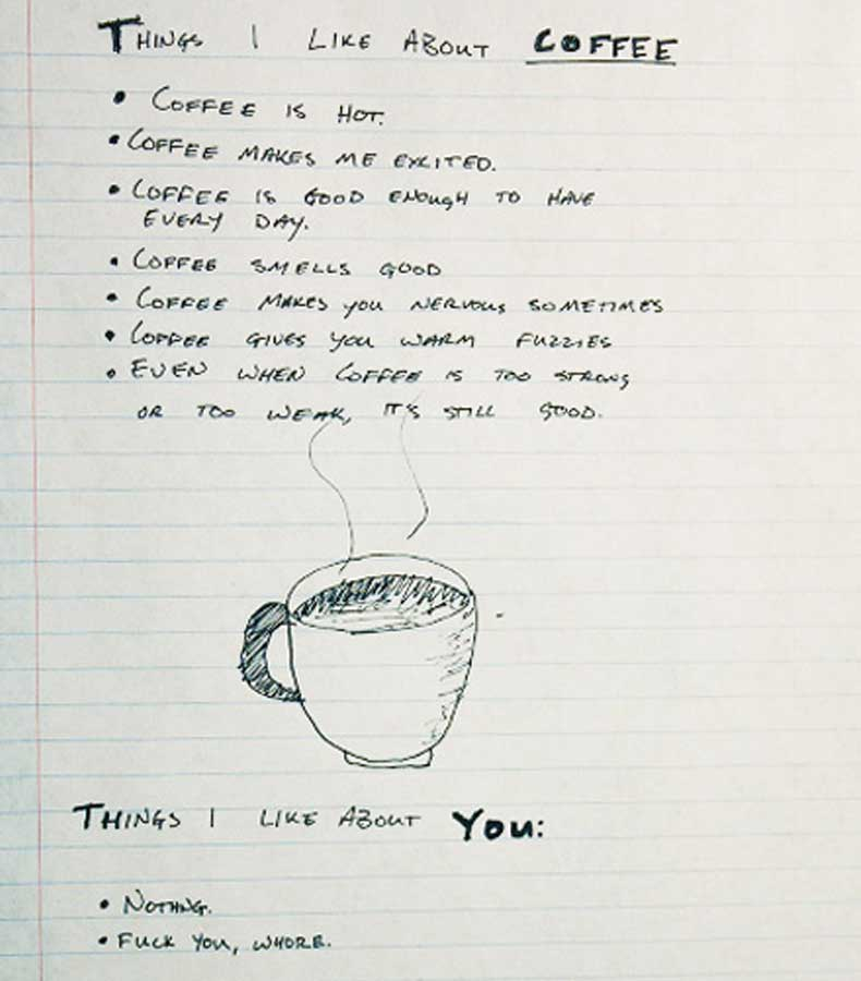 Coffee vs. You Breakup List